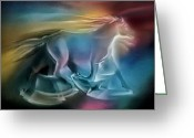 Equus Pastels Greeting Cards - Equus Caballuscomp 1984 Greeting Card by Glenn Bautista