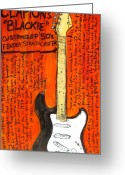 Fender Stratocaster Greeting Cards - Eric Claptons Stratocaster Blackie Greeting Card by Karl Haglund