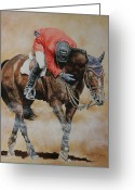 Horse Show Greeting Cards - Eric Lamaze and Hickstead Greeting Card by David McEwen