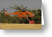 Tanker Greeting Cards - Erickson Air Crane Sikorsky S64E Skycrane N247AC Tanker 744 Greeting Card by Brian Lockett