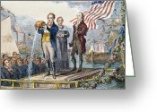 Pouring Greeting Cards - Erie Canal Opening, 1825 Greeting Card by Granger