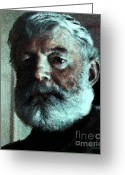 Contemporary Portraits. Greeting Cards - Ernest Hemingway Greeting Card by John Travisano