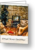 Old Tv Digital Art Greeting Cards - Ernest Saves Christmas Greeting Card by Lou  Novick