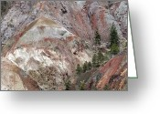 Sandstone Bluffs Greeting Cards - Eroded Glacial Landscape, British Columbi Greeting Card by Kaj R. Svensson