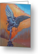 Eros Statue Greeting Cards - Eros - London Greeting Card by Antonio Marchese
