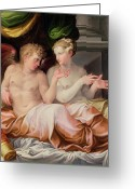 Eros And Psyche Greeting Cards - Eros and Psyche Greeting Card by Niccolo dell Abate