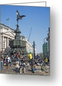 Eros Statue Greeting Cards - Eros London Greeting Card by Donald Davis