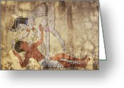 Couple Mixed Media Greeting Cards - Erotic Drawing Looks Like Fresco Greeting Card by Michal Boubin