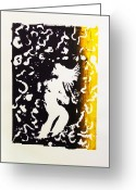 Azazel Greeting Cards - Erotic Scapegoat from Azazel Hell Satan Devil in Purple and Yellow Serigraph Swirls Holding Breasts Greeting Card by M Zimmerman