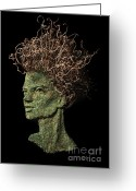 Gaze Mixed Media Greeting Cards - Erudite Greeting Card by Adam Long