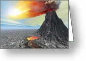 Catastrophe Greeting Cards - Eruption Greeting Card by Corey Ford