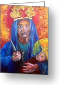 Motherhood Greeting Cards - Erzulie Dantor Portrait Greeting Card by Christy  Freeman