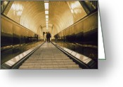Photorealism Greeting Cards - Escalator Greeting Card by Max Ferguson