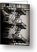 Railings Greeting Cards - Escape Greeting Card by David Bowman