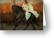 Running Horse Greeting Cards - Escape Greeting Card by Jean Hildebrant