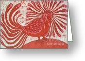 Fine Art Batik Tapestries - Textiles Greeting Cards - Eskimo Bird Greeting Card by Carol  Law Conklin