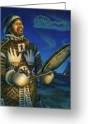 Shaman Drum Greeting Cards - Eskimo Shaman Greeting Card by Anne Wertheim