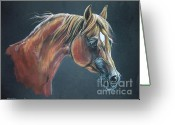 Horse Portrait Pastels Greeting Cards - Esperanto Greeting Card by Angel  Tarantella