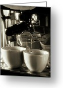 Barista Greeting Cards - Espresso Coffee Filtering Into Two Cups Greeting Card by Andrew Bret Wallis
