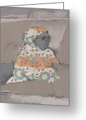 Pen Pastels Greeting Cards - Espresso Lady Greeting Card by Sarah Madsen