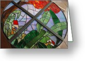 Borinquen Scene Glass Art Greeting Cards - Estampa Greeting Card by Dorcas Pabon
