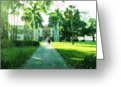 Sarasota Mixed Media Greeting Cards - Estate Grounds Greeting Card by Florene Welebny