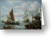 Anglers Greeting Cards - Estuary Scene with Boats and Fisherman Greeting Card by Johannes de Blaauw