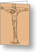 Easter Digital Art Greeting Cards - esus Christ hanging on the cross Greeting Card by Aloysius Patrimonio