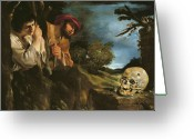 Poussin Greeting Cards - Et in arcadia ego Greeting Card by Giovanni Francesco Barbieri