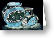 Jugs Greeting Cards - Etched Pottery Greeting Card by Paula Ayers