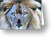 Lions Painting Greeting Cards - Eternal Nature of Our Universe - detail Greeting Card by John Lautermilch