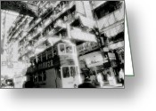Hustle Bustle Greeting Cards - Ethereal Hong Kong  Greeting Card by Shaun Higson