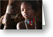 Africa Photo Greeting Cards - Ethiopian Hamer girl Greeting Card by Marcus Best