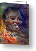 Ethnic Greeting Cards - Ethnic woman portrait Greeting Card by Svetlana Novikova