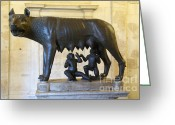 Kid Photo Greeting Cards - Etruscan bronze statue of the she-wolf with Romulus and Remus. Capitoline Museum. Capitoline Hill. R Greeting Card by Bernard Jaubert