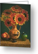 Autograph Greeting Cards - Etruscan Vase and Red Sunflowers Greeting Card by Lyndall Bass