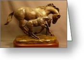 Quarter Horse Sculpture Greeting Cards - Euphoria Bronze Mare and Foal horse sculpture Greeting Card by Kim Corpany