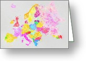 Kid Greeting Cards - Europe map Greeting Card by Setsiri Silapasuwanchai