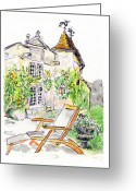Tilly Strauss Greeting Cards - European Chateau Lounge Chair Greeting Card by Tilly Strauss