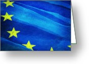 Freedom Digital Art Greeting Cards - European flag Greeting Card by Setsiri Silapasuwanchai