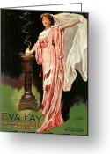 Magic Trick Greeting Cards - Eva Fay the High Priestess of Mysticism Greeting Card by Unknown