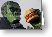 Frankenstein Greeting Cards - Even Frankie Loves a Burger Greeting Card by Elizabeth Hoskinson