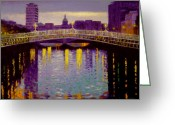 Hall Greeting Cards - Evening - Ha Penny Bridge- Dublin Greeting Card by John  Nolan