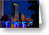 Florida Bridge Digital Art Greeting Cards - Evening along the Hillsborough Greeting Card by David Lee Thompson