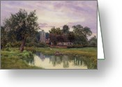 Pond Painting Greeting Cards - Evening at Hemingford Grey Church in Huntingdonshire Greeting Card by William Fraser Garden