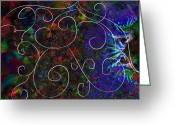 Jewel Tones Digital Art Greeting Cards - Evening At The Circus Fractal Abstract Greeting Card by Cindy Boyd