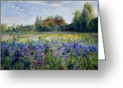 Purple House Greeting Cards - Evening at the Iris Field Greeting Card by Timothy Easton