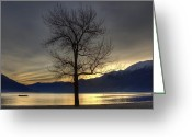 Sunset Light Greeting Cards - evening at the Lake Maggiore Greeting Card by Joana Kruse