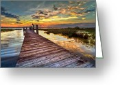 Bridge Greeting Cards Greeting Cards - Evening Dock Greeting Card by Debra and Dave Vanderlaan