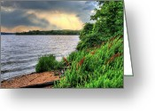 Raining Photo Greeting Cards - Evening Flight Greeting Card by JC Findley